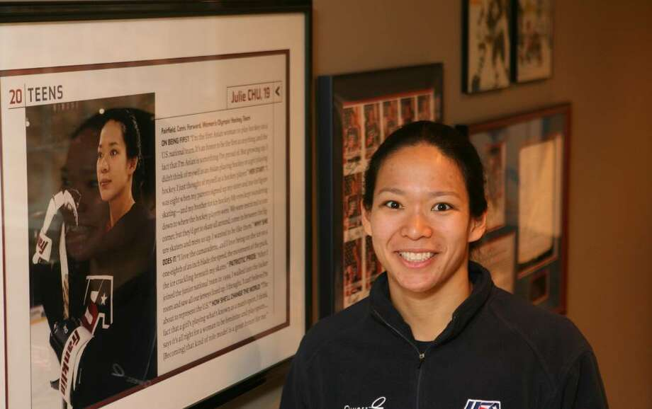 Julie Chu, US Hockey Olympian, at her home in Fairfield. Photo: B.K. Angeletti / Connecticut Post