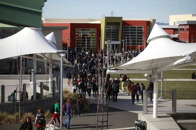 Students head for lunch in the main quad at the new American Canyon High School in Napa County, which was paid for with a capital appreciation bond. Photo: Mike Kepka, The Chronicle