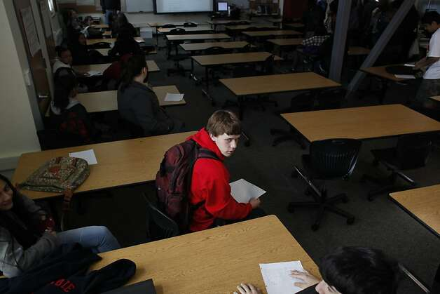 Garrett Minahen, 16, waits at the end of Humanities class at American Canyon High School on Tuesday Jan. 29, 2013 in American Canyon, Calif.  In 2006, Napa voters authorized $183 million to repair old school buildings and build a new high school in American Canyon, a rapidly growing area in southern Napa County. By 2009, when the high school was nearly completed, property values had dropped and the district suddenly found itself short of cash. On the advice of KNN Public Finance, an Oakland firm, Napa issued a nearly$22 million capital appreciation bond. Photo: Mike Kepka, The Chronicle