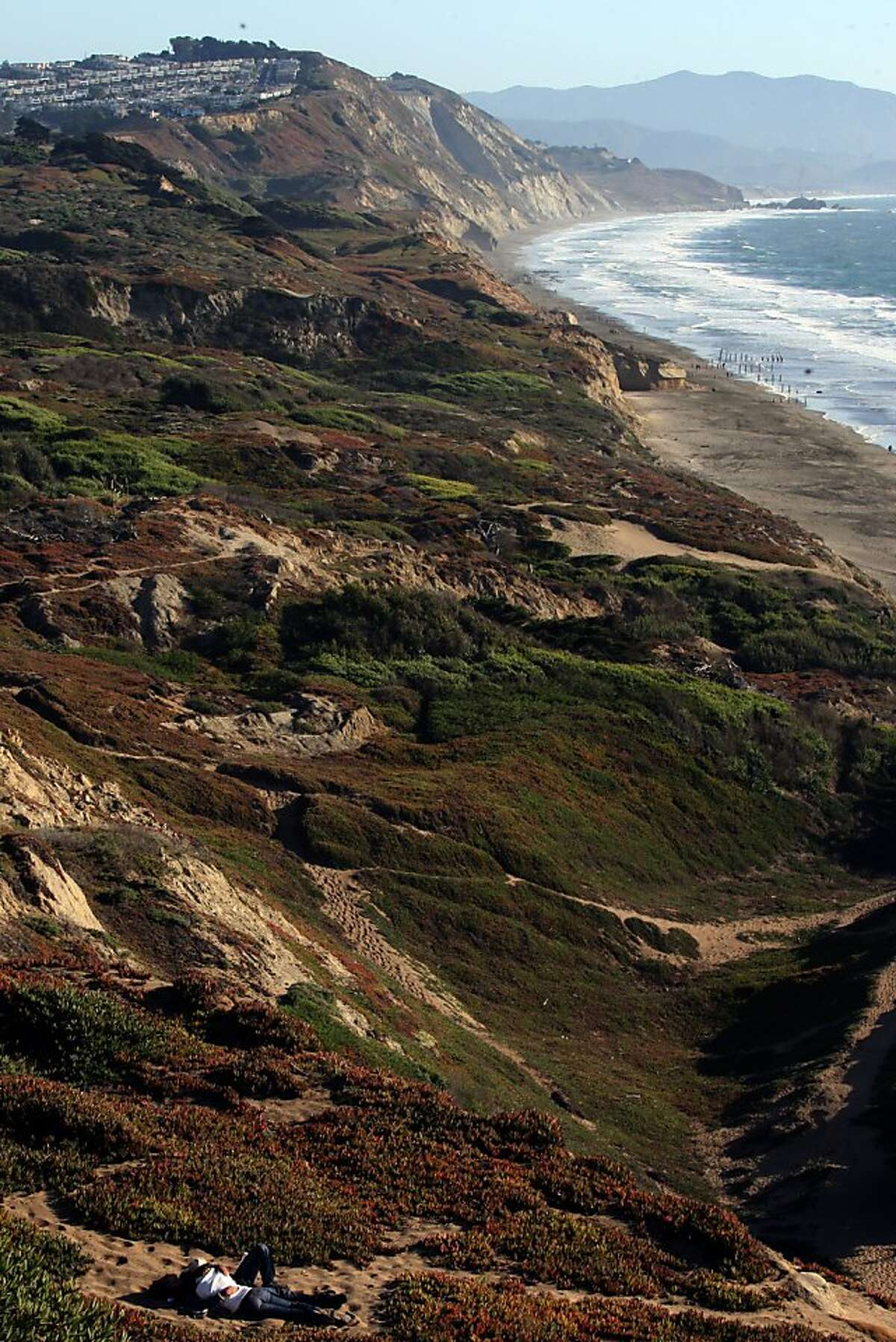 Looking at the dunes at Fort Funston in San Francisco, Calif., on Friday, October 10, 2008.