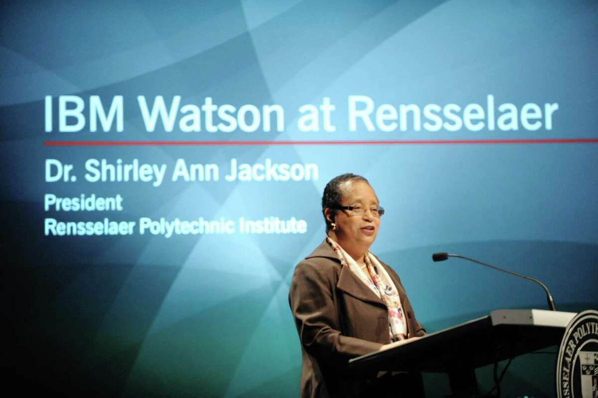 RPI President Shirley Ann Jackson addresses those gathered during an event at RPI on Wednesday, Jan. 30, 2013 in Troy, NY. The event was held for IBM and RPI to announce that IBM will provide a modified version of the IBM Watson system to the college for use by students and faculty. (Paul Buckowski / Times Union)
