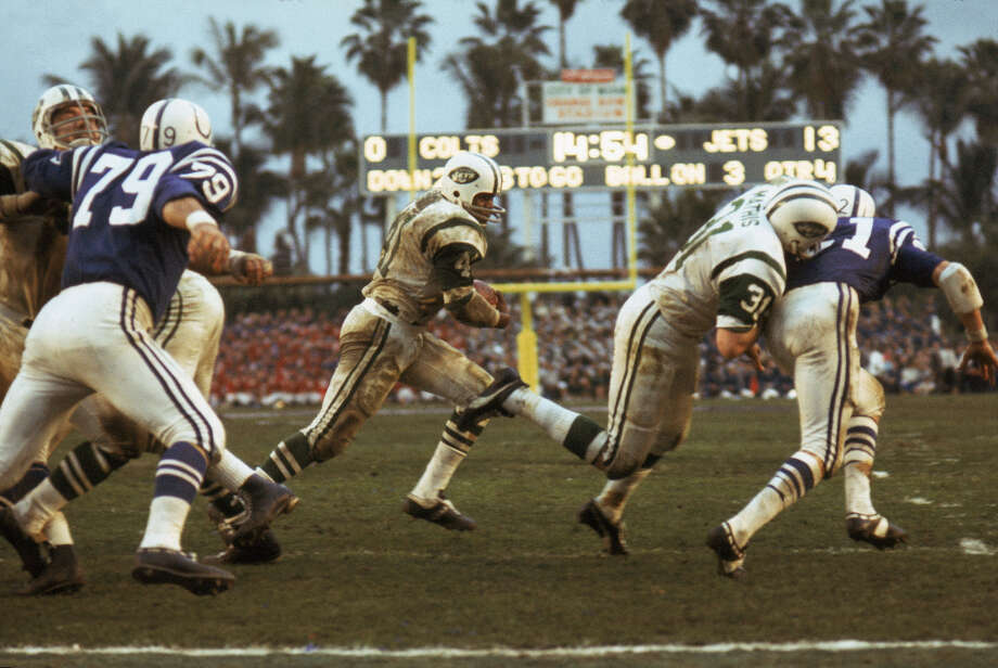 Super Bowl III— Jan. 12, 1969 | Miami | Jets 16, (Baltimore) Colts 7Performers: Florida A&M University marching band.In the early years of the Super Bowl, pregame ceremonies were more notable than halftime shows. In 1969, entertainer Bob Hope led a tribute to the Apollo 8 astronauts (the first to orbit the moon), and singer Anita Bryant performed the national anthem. The halftime show also got a theme: ''America Thanks.'' Photo: Vernon Biever, NFL / Getty Images North America