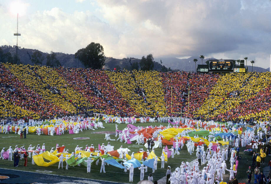 Super Bowl XVII— Jan. 30, 1983 | Pasadena, Calif. | Redskins 27, Dolphins 17Performers: Los Angeles Super Drill Team, crowd participation.The halftime show's theme was ''KaleidoSUPERscope'' — and apparently featured a colorful performance by the L.A. Super Drill Team (pictured). Photo: Robert Riger, Getty Images / 1983 Robert Riger