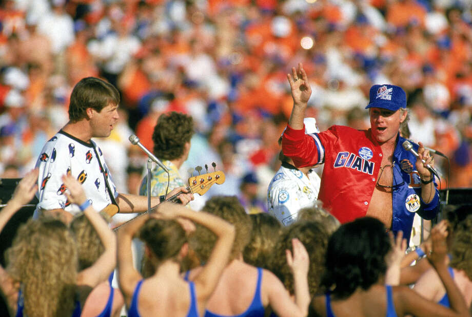 Super Bowl XXI— Jan. 25, 1987 | Pasadena, Calif. | Giants 39, Broncos 20Performers: Southern California high school drill teams and dancers, Disney characters.The Beach Boys performed before the game (pictured) and Neil Diamond sang the national anthem. The halftime show was was introduced by comedian George Burns and was themed, ''Salute to Hollywood's 100th Anniversary.'' It was produced by Disney.You can watch the entire halftime show on YouTube. Photo: George Rose, Getty Images / 1987 Getty Images