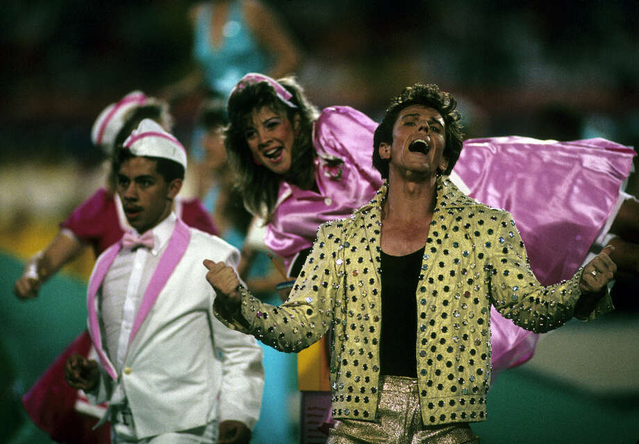 Super Bowl XXIII— Jan. 22, 1989 | Miami | 49ers 20, Bengals 16Performers: Elvis Presto (pictured), South Florida-area dancers, 3-D effects.You'd think there'd be some Elvis Presley songs with an Elvis impersonator starring in this halftime show, but there weren't. Fans were also given 3-D glasses to view three-dimensional images on the stadium screens.You can watch a clip of the halftime show on YouTube. Photo: Rob Brown, NFL / Rob Brown/WireImage.com