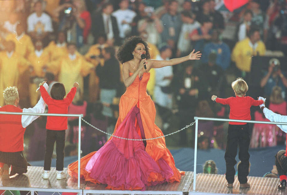 Super Bowl XXX— Jan. 28, 1996 | Tempe, Ariz. (Arizona State University) | Cowboys 27, Steelers 17Performer: Diana Ross.The second halftime show with a single performer, this one featured pyrotechnics again and celebrated the 30th anniversary of the Super Bowl. The show ended with Ross being flown out of the stadium in a helicopter.You can watch the entire halftime show on YouTube. Photo: Al Bello, Getty Images / Getty Images North America
