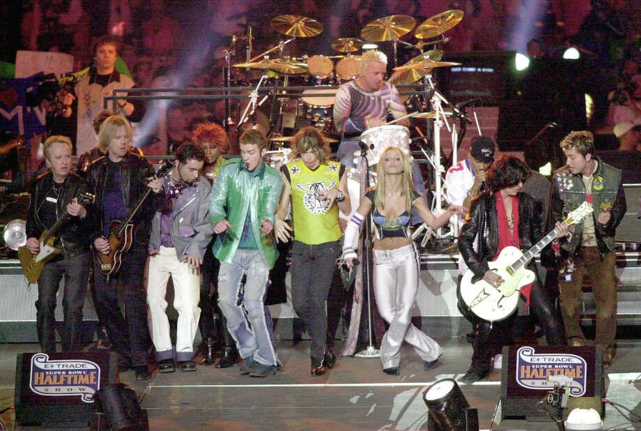 Super Bowl XXXV— Jan. 28, 2001 | Tampa, Fla. | Ravens 34, Giants 7Performers: Aerosmith, 'N Sync, Britney Spears, Nelly, Mary J. Blige, Chris Rock, Adam Sandler, Ben Stiller.The show, produced by MTV, featured a video lead-in starring the performers while the stage was being set up, leading directly into the show. Aerosmith and 'N Sync took turns performing their own songs, and Britney Spears, Mary J. Blige and Nelly joined in.You can watch the entire halftime show on YouTube. Photo: Doug Pensinger, Getty Images / Getty Images North America