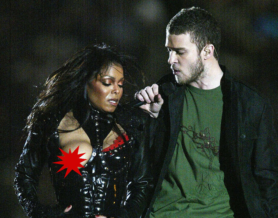 Super Bowl XXXVIII— Feb. 1, 2004 | Houston | Patriots 32, Panthers 29Performers: Janet Jackson, Justin Timberlake, P. Diddy, Kid Rock, Nelly.The show was produced by MTV and had a ''Rock the Vote'' theme, but it will always be remembered for Janet Jackson's ''wardrobe malfunction.'' At the end of the performance, Justin Timberlake reached over and removed the covering over Jackson's right breast, and her breast was exposed on live television — albeit with a ''nipple shield'' piece of jewelry. CBS ended up getting fined by the FCC for the incident's live broadcast, and Super Bowl halftime shows are now televised with a delay.You can watch the entire halftime show on YouTube (complete with wardrobe malfunction).The above image was edited by seattlepi.com.