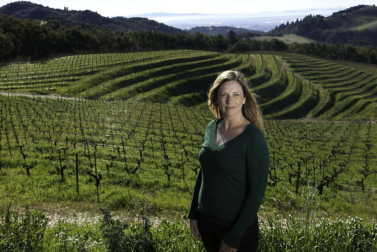 Katy Wilson, associate winemaker at Kamen Estate, surveys vineyards in the southern Mayacamas Mountains east of Sonoma. She also has her own label, LaRue, which put out about 400 cases last year.
