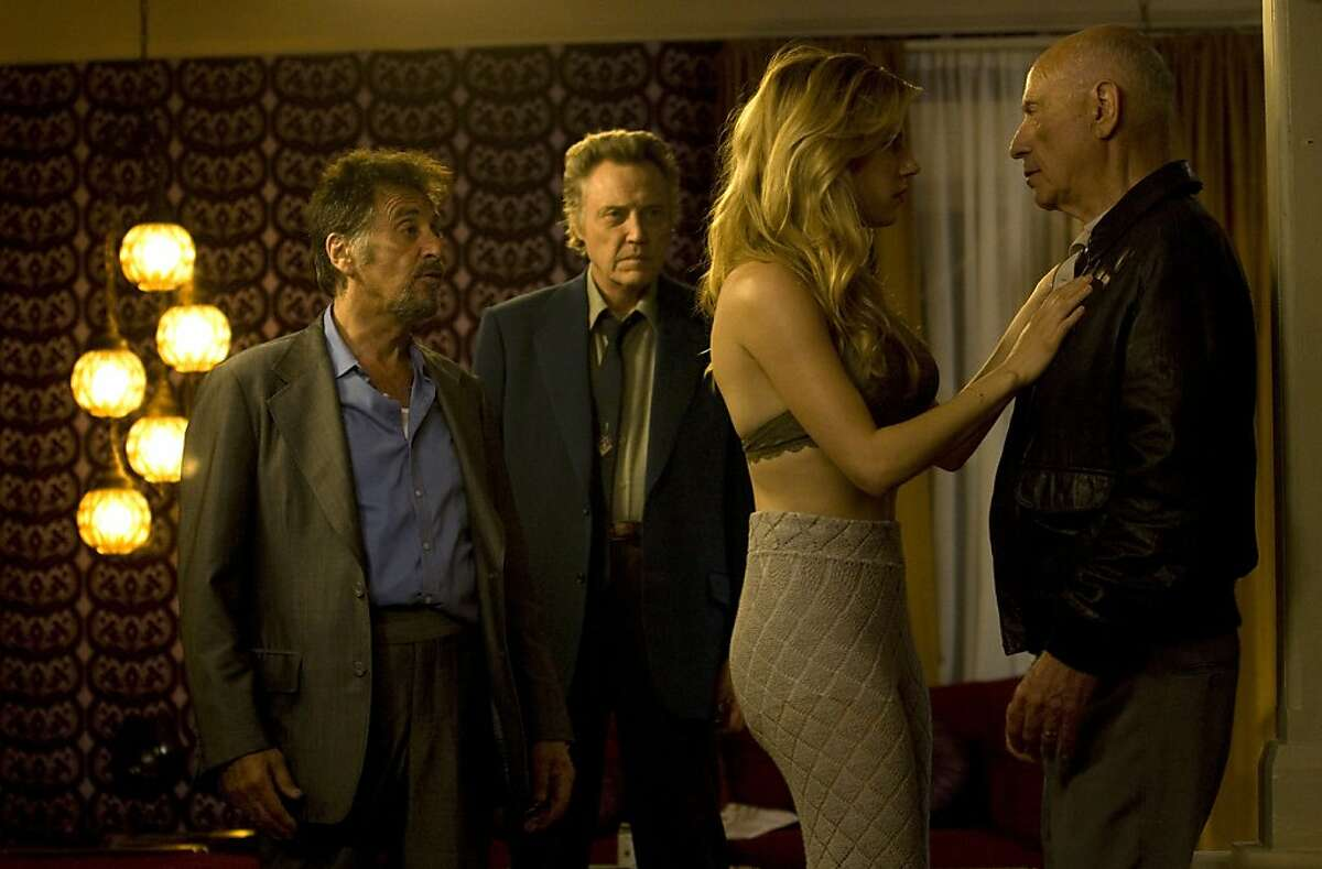 Al Pacino (left, as Val), Christopher Walken (left-center, as Doc), Katheryn Winnick (right-center, as Oxana) and Alan Arkin (right, as Hirsch) star in STAND UP GUYS.