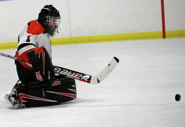 Fairfield Warde/Ludlowe goalie Connor Frawley, during boys hockey action against Trumbull at the Wonderland of Ice in Bridgeport, Conn. on Wednesday January 30, 2013. Photo: Christian Abraham / Connecticut Post
