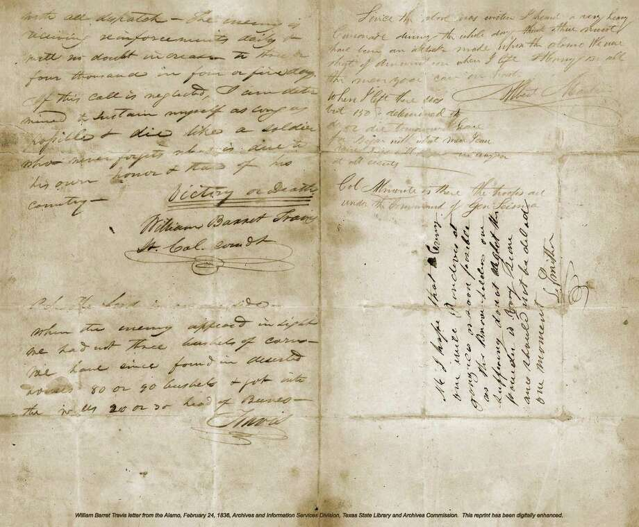 William Barret Travis wrote this patriotic plea from the Alamo on Feb. 24, 1836. Photo: Courtesy Texas State Library And