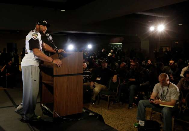 Baltimore Ravens linebacker Ray Lewis speaks at an NFL Super Bowl XLVII football news conference on Wednesday, Jan. 30, 2013, in New Orleans. The Ravens face the San Francisco 49ers in Super Bowl XLVII on Sunday, Feb. 3. (AP Photo/Patrick Semansky) Photo: Patrick Semansky