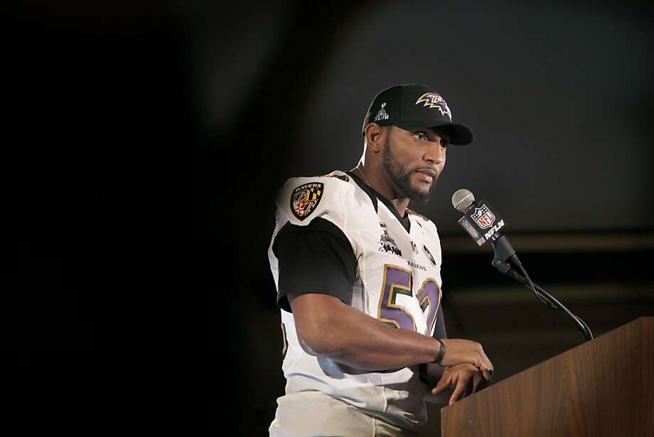 "Ravens linebacker Ray Lewis says, ""You are going to find people who lead, lead, lead, but ... they serve more than anything. That is what this team is built around, and that is what my whole legacy is about."" Photo: Michael Macor, The Chronicle"
