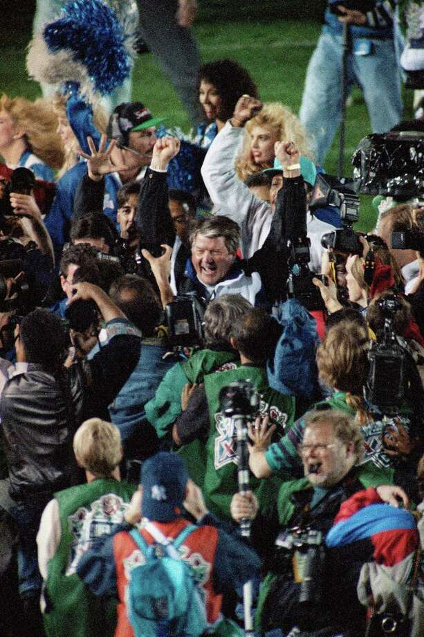 Dallas Cowboy Coach Jimmy Johnson raises his arms in celebration after his team's 52-17 victory over the Buffalo Bill in the Super Bowl, Sunday, Jan. 31, 1993 in Pasadena. Photo: Douglas C. Pizac, Associated Press / AP1993