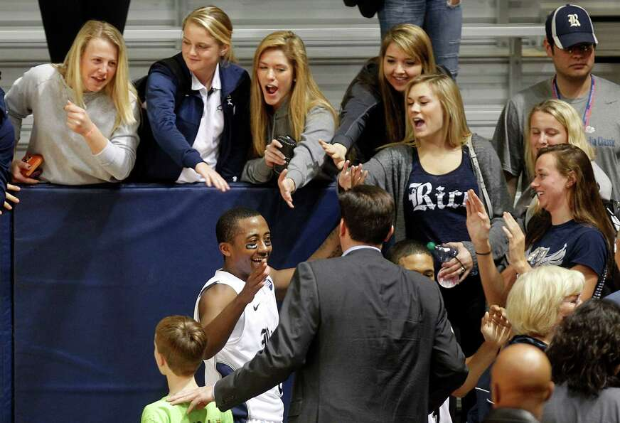 Rice University's Keith Washington celebrates his teams 79-69 win.