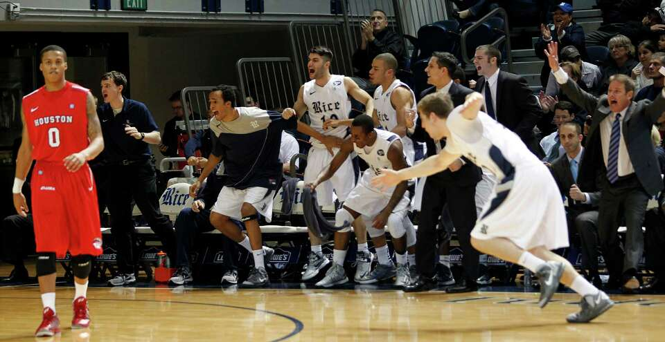 The Rice University bench celebrates tying the game.