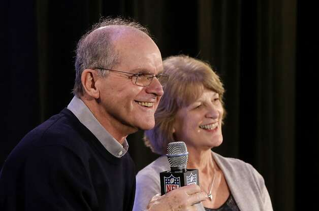 Jack and Jackie Harbaugh, parents of the two coaches, speak at a news conference. Photo: Gerald Herbert, Associated Press