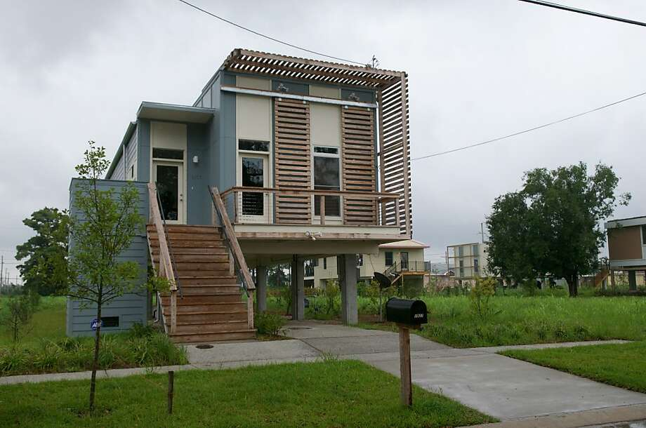 One of the modern homes built by Brad Pitt's Make It Right Foundation after Hurricane Katrina. Photo: Rod Lamkey Jr, AFP/Getty Images