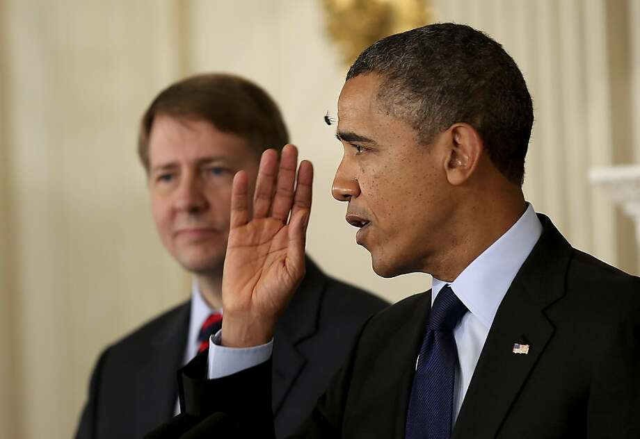 President Obama with Richard Cordray, his recess appointee to lead the Consumer Financial Protection Bureau. Photo: Doug Mills, New York Times