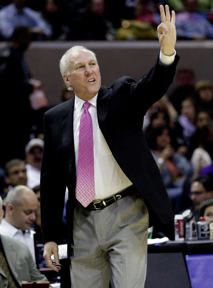 San Antonio Spurs head coach Gregg Popovich calls a play during the first half of an NBA basketball game against the Charlotte Bobcats, Wednesday, Jan. 30, 2013, in San Antonio. Photo: Eric Gay, Associated Press / AP
