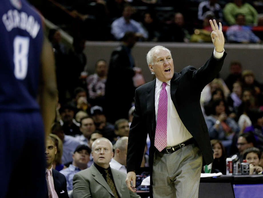 San Antonio Spurs head coach Gregg Popovich during the first half of an NBA basketball game against the Charlotte Bobcats, Wednesday, Jan. 30, 2013, in San Antonio. (AP Photo/Eric Gay) Photo: Eric Gay, Associated Press / AP