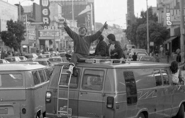 MISSION DISTRICT: This guy had it all: A sweet van, a beer and a victory for his Super Bowl champion 49ers. Traffic was tight in the Mission, but reports of arrests came from other parts of the city. Photo: John O'Hara, The Chronicle / ONLINE_YES