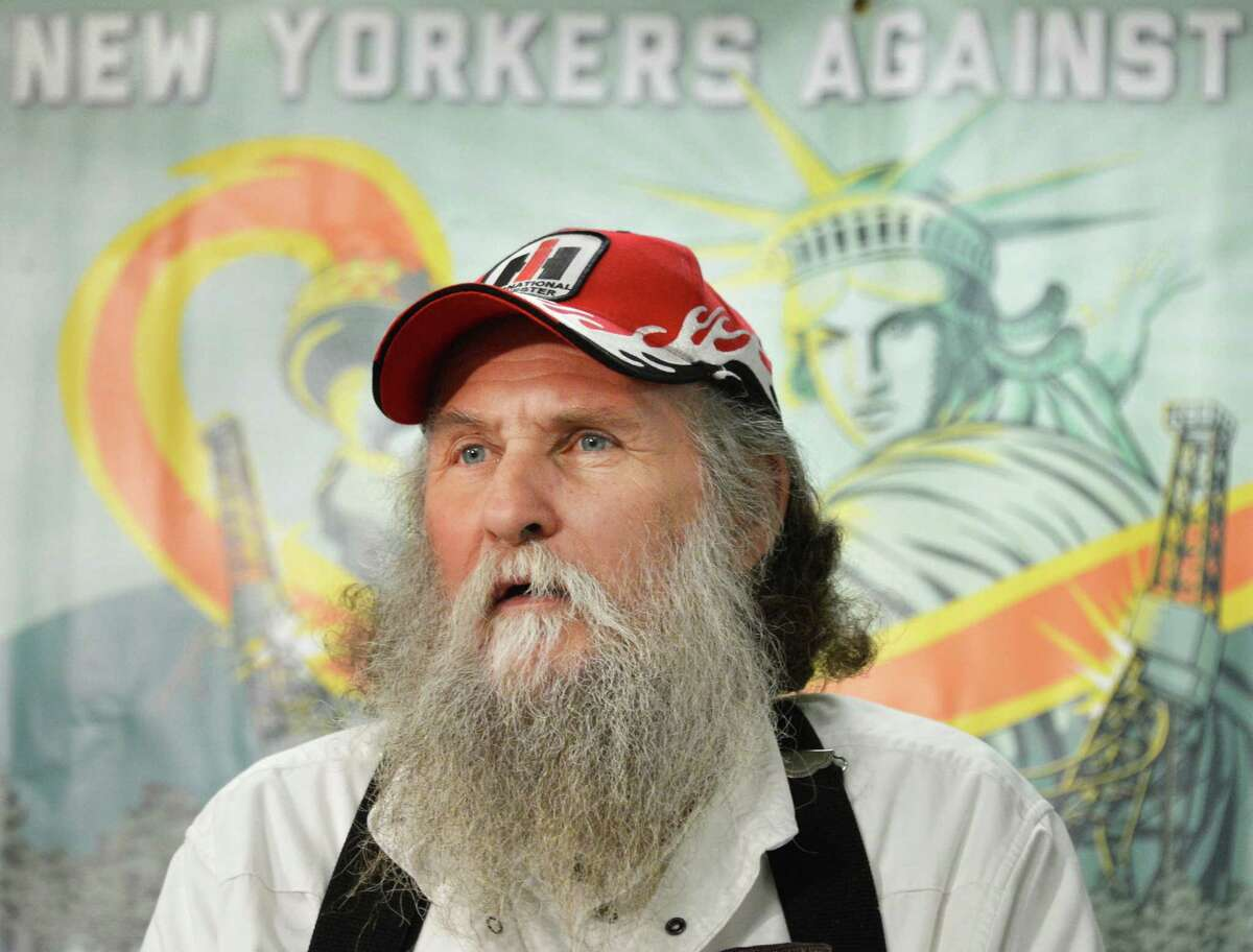 Pennsylvania farmer Terry Greenwood raises health concerns about hydro fracking during a news conference Wednesday morning, Jan. 30, 2013, at the Legislative Office Building. (John Carl D'Annibale / Times Union)