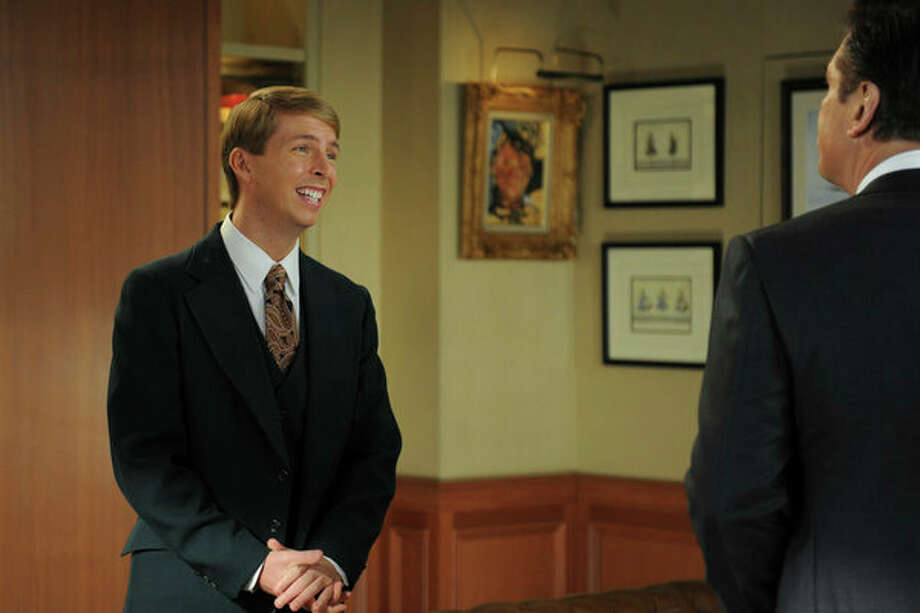 30 ROCK -- Part 1: Hogcock! Part 2: Last Lunch Episode 712/713 -- Pictured: (l-r) Jack McBrayer as Kenneth Parcell, Alec Baldwin as Jack Donaghy -- Photo: NBC, Ali Goldstein/NBC / 2012 NBCUnivesal Media, LLC.