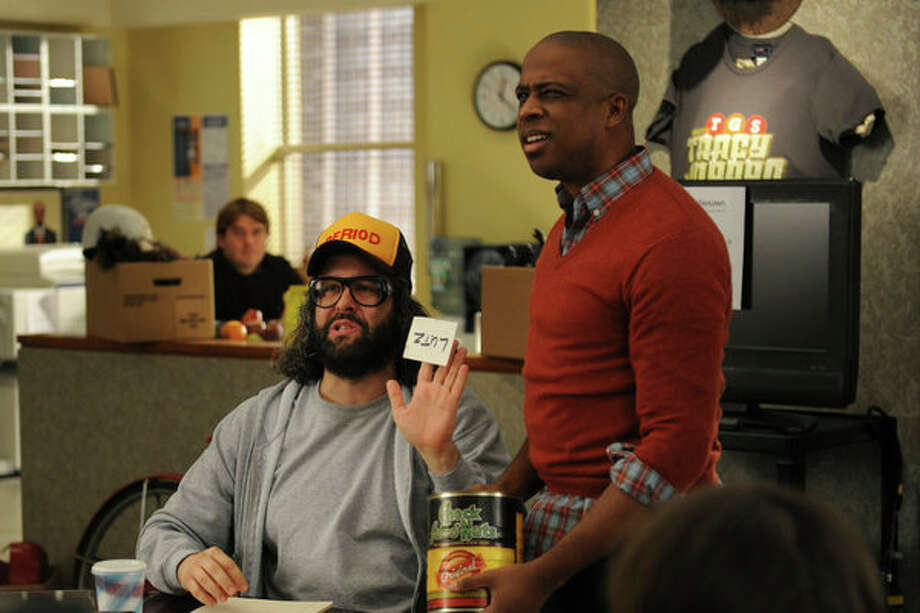 30 ROCK -- Part 1: Hogcock! Part 2: Last Lunch Episode 712/713 -- Pictured: (l-r) Judah Friedlander as Frank, Keith Powell as Toofer -- Photo: NBC, Ali Goldstein/NBC / 2012 NBCUnivesal Media, LLC.