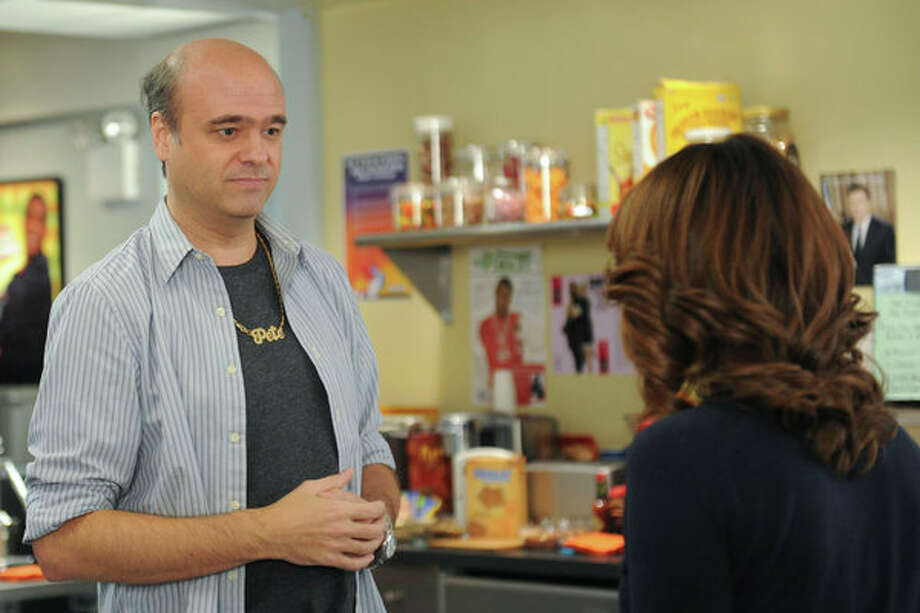 30 ROCK -- Part 1: Hogcock! Part 2: Last Lunch Episode 712/713 -- Pictured: (l-r) Scott Adsit as Pete Hornberger, Tina Fey as Liz Lemon -- Photo: NBC, Ali Goldstein/NBC / 2012 NBCUnivesal Media, LLC.