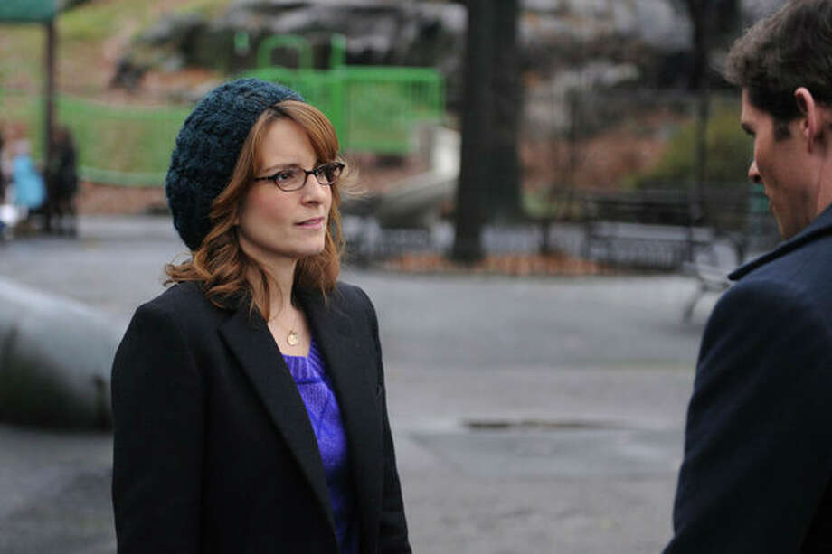 30 ROCK -- Part 1: Hogcock! Part 2: Last Lunch Episode 712/713 -- Pictured: (l-r) Tina Fey as Liz Lemon, James Marsden as Criss -- Photo: NBC, Ali Goldstein/NBC / 2012 NBCUnivesal Media, LLC.