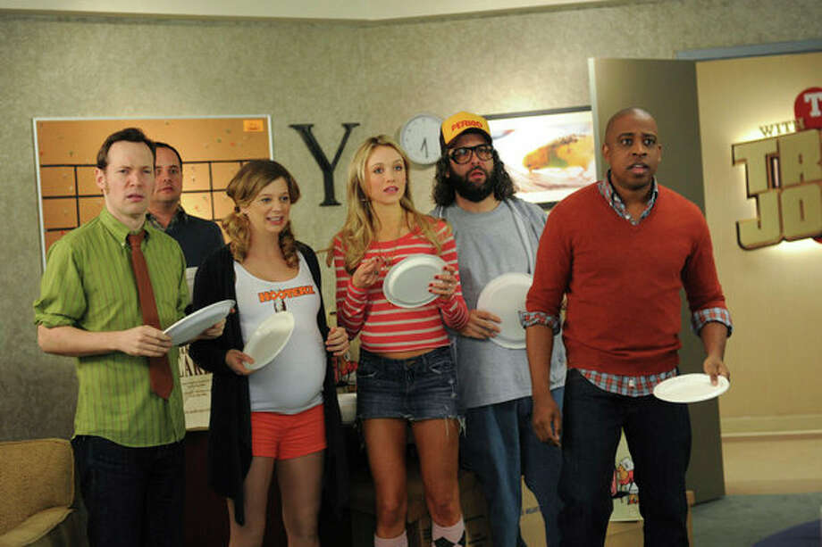 30 ROCK -- Part 1: Hogcock! Part 2: Last Lunch Episode 712/713 -- Pictured: (l-r) Sue Galloway as Sue, Katrina Bowden as Cerie, Judah Friedlander as Frank, Keith Powell as Toofer -- Photo: NBC, Ali Goldstein/NBC / 2012 NBCUnivesal Media, LLC.