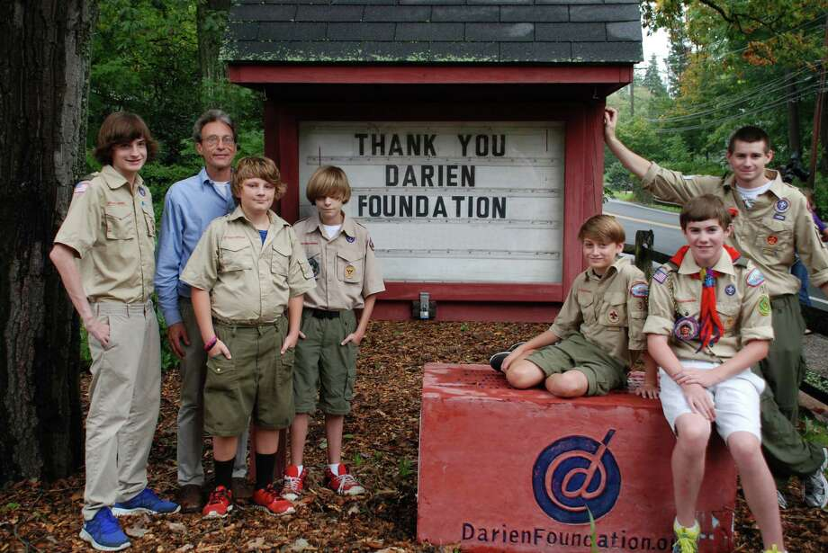 Project Leader and Assistant Scoutmaster Harry Molwitz is shown with Scouts Quinn Hagen, Eric Morgan, Gabriel Hagen, Will Granath, Alex Cohen and Nick Cohen. Photo: Contributed Photo