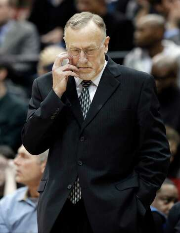 Minnesota Timberwolves head coach Rick Adelman waits to talk to his players during a time out in the first half of an NBA basketball game against the Los Angeles Clippers Wednesday, Jan. 30, 2013 in Minneapolis. It was Adelman's first game back after a leave to be with his ill wife. (AP Photo/Jim Mone) Photo: Jim Mone, STF / AP