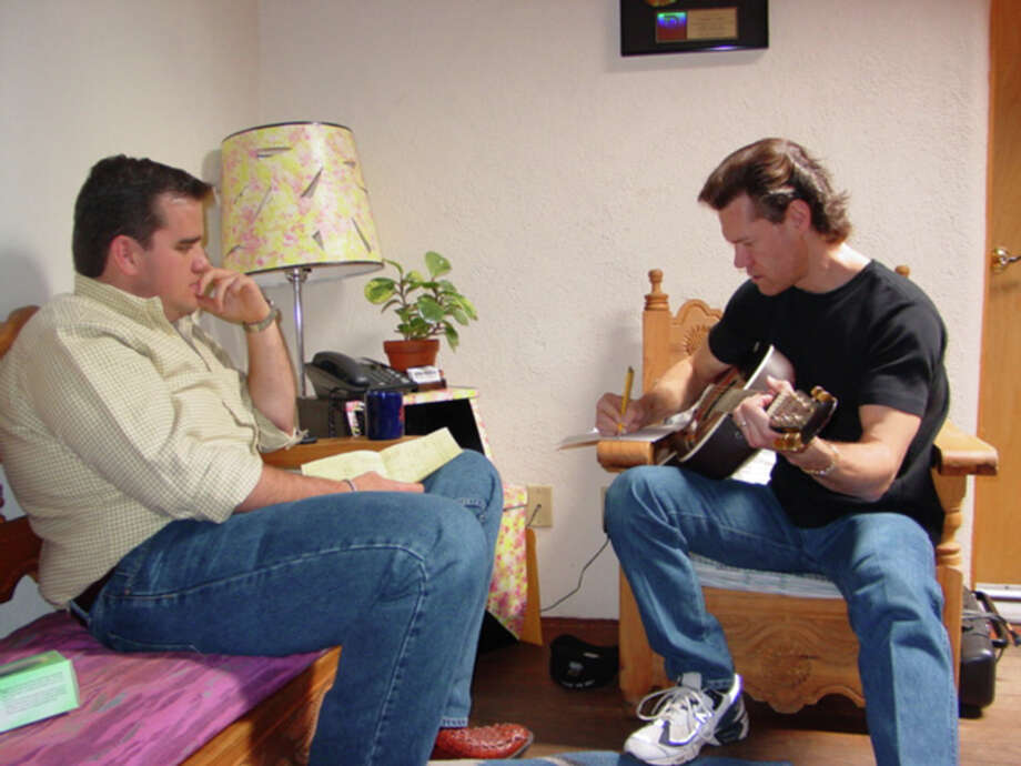 Matthew Hagee (left) and Randy Travis developed a working and personal relationship when Travis debuted his first gospel album, 'Inspirational Journey,' in 2000 at Cornerstone Church.  (Courtesy photo) Photo: Express-News