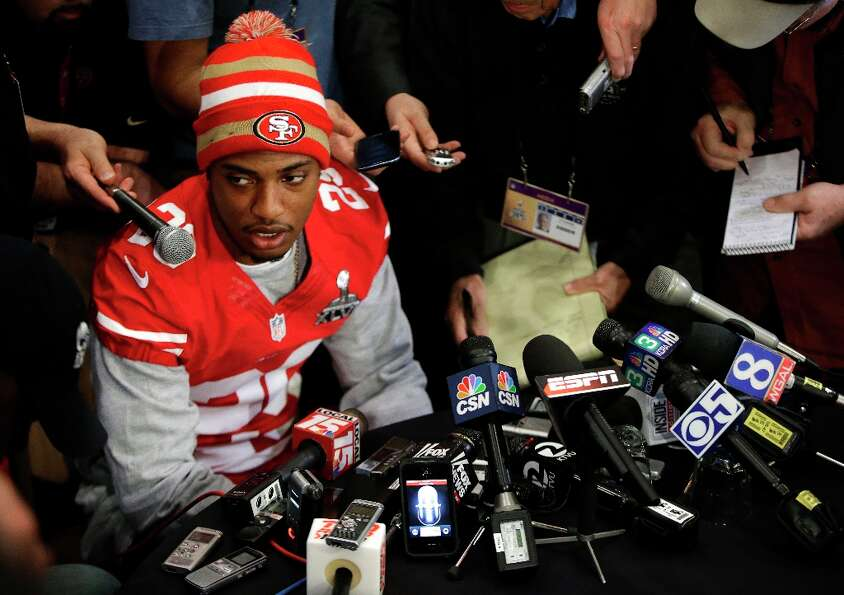 San Francisco 49ers cornerback Chris Culliver answers questions Thursday, Jan. 31, 2013, in New O