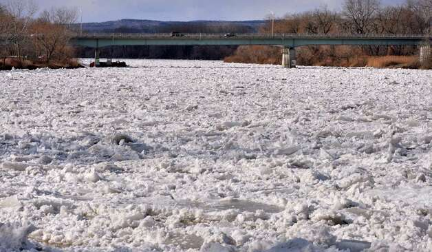 An ice jam on the Mohawk River at the Stockade in Schenectady Thursday Jan. 31, 2013.  (John Carl D'Annibale / Times Union) Photo: John Carl D'Annibale / 00020994A