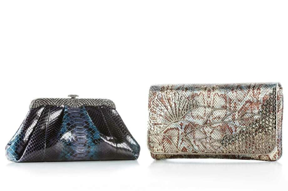 "Judith Leiber handbags: blue snake skin ""Ocean"" bag, $4,295, and satin with crystal overlay bag, $2,695, at Neiman Marcus, photographed in the Houston Chronicle Photo Studio, Tuesday, Jan. 22, 2013, in Houston. ( Michael Paulsen / Houston Chronicle ) Photo: Michael Paulsen, Staff / © 2013 Houston Chronicle"