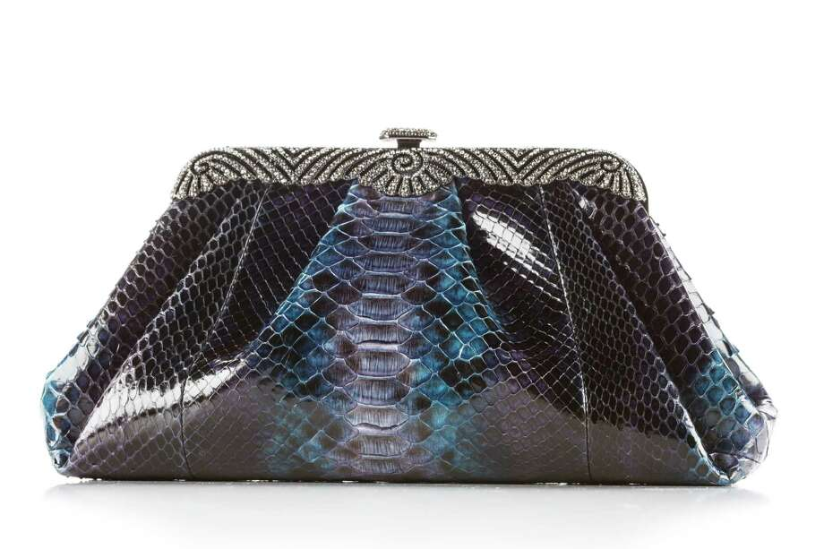 "Judith Leiber handbag: blue snake skin ""Ocean"" bag, $4,295, at Neiman Marcus, photographed in the Houston Chronicle Photo Studio, Tuesday, Jan. 22, 2013, in Houston. ( Michael Paulsen / Houston Chronicle ) Photo: Michael Paulsen, Staff / © 2013 Houston Chronicle"