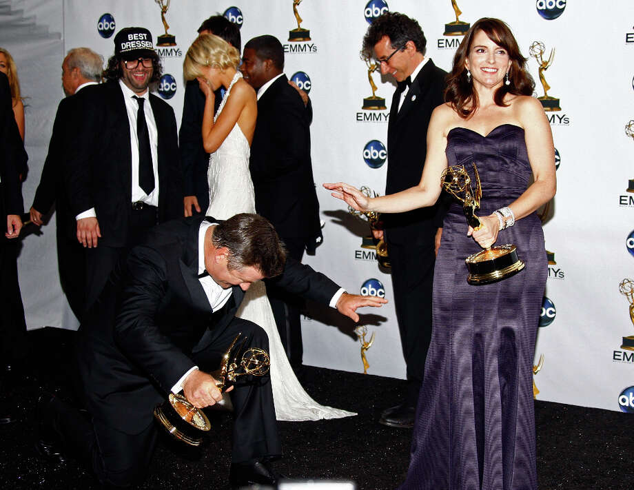 Having fun in the press room in 2008: Tina Fey and Alec Baldwin pose with their acting Emmys.  Photo: Frazer Harrison, Getty Images / 2008 Getty Images
