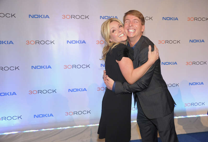 Last hugs: Jane Krakowski and Jack McBrayer at the ''30 Rock'' wrap party on Dec. 20, 2012.