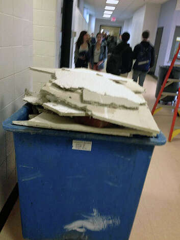Damaged ceiling tiles at Fairfield Ludlowe High School. The photo was posted on the Facebook page for FLHS Prospect. Photo: Contributed Photo / Fairfield Citizen