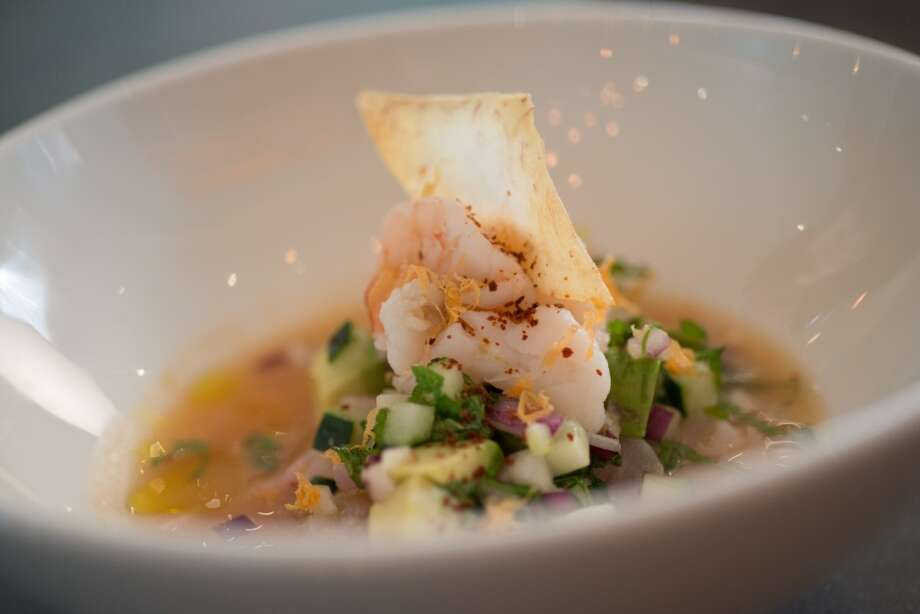 Puerto Vallarta Ceviche (poached shrimp, rockfish, avocado, cucumber, mint, red onion, taro chip) $14