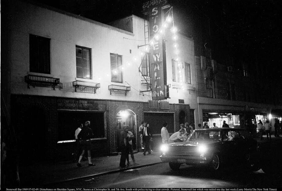 Stonewall Bar 1969 07-02-69. Disturbance on Sheridan Square, NYC. Scenes at Christopher St. and 7th Ave. South with police trying to clear crowds. Pictured, Stonewall Inn which was raided one day last week. Photo: Larry Morris, The New York Times/Redux