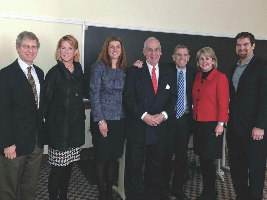 (Left to right) Jon Finger, Alason Connell, Tess Chaney, John A. Daugherty Jr., Jerry Finger, Cheri Fama and Matt Hansen attended the presentation at Rice University.