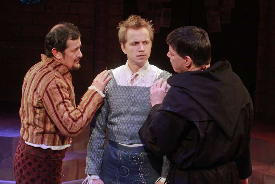 "(For the Chronicle/Gary Fountain, January 20, 2013)   Luis Galindo as Dr. Faustus, from left, Ryan Schabach as Hamlet, and Kenn McLaughlin as Martin Luther, in this scene from Stages' Houston premiere of ""Whittenberg."" Photo: Gary Fountain, Freelance / Copyright 2013 Gary Fountain."