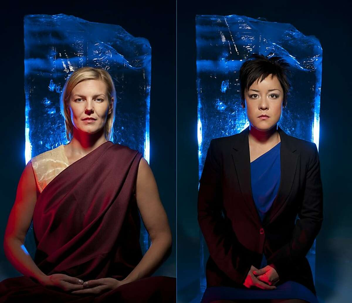 """World-renowned spiritual teacher Mama Sid (Annemaria Rajala, left) and young journalist Raina (Anna Ishida) take a modern slant on the life of the Buddha in the world-premiere musical """"The Fourth Messenger"""" running March 10 at the Ashby Stage in Berkeley."""