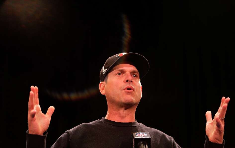 49ers' head coach Jim Harbaugh opens the daily press conference on Thursday Jan. 31, 2013, in New Or