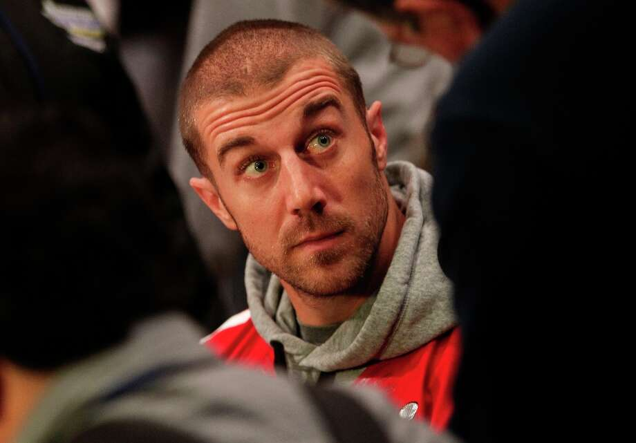 49ers' Alex Smith meets with the media during the daily press conference on Thursday Jan. 31, 2013, in New Orleans, La. The San Francisco 49ers and the Baltimore Ravens prepare for this Sunday's NFL Superbowl match up. Photo: Michael Macor, The Chronicle / ONLINE_YES